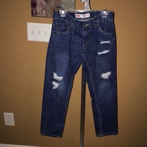 Levi distressed blue jeans